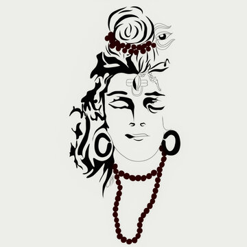 Beautiful illustration drawing of lord Shiva mahadev