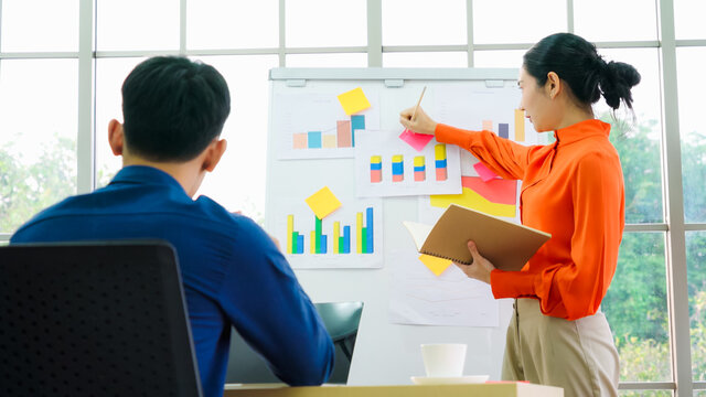 Young woman explains business data on white board in casual office room . The confident Asian businesswoman reports information progress of a business project to partner to determine market strategy .