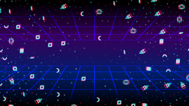 Vector abstract background. Retro horizon, mesh in neon glow. Particles scattering from the center.