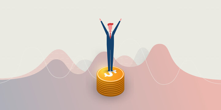 New Possibilities, Ideas, Hope, Dreams - Happy Business Man,  Arms Raised, Standing on a Stack of Coins - Business, Creativity Vector Concept
