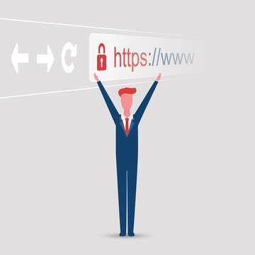 Browser Address Bar Showing Https Protocol - Secure Business Concept with Happy Standing Business Man, Arms Raised