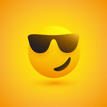 Smiling Emoji with Sunglasses on Yellow Background - Vector Design