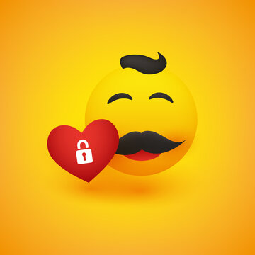 Smiling Male Emoji with Mustache and Hair with a Red Heart - Simple Happy Emoticon on Yellow Background - Vector Design