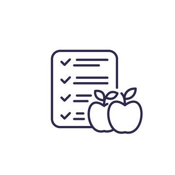 diet plan line icon on white