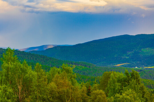 Mountain panorama and huts Vang i Valdres Norway.