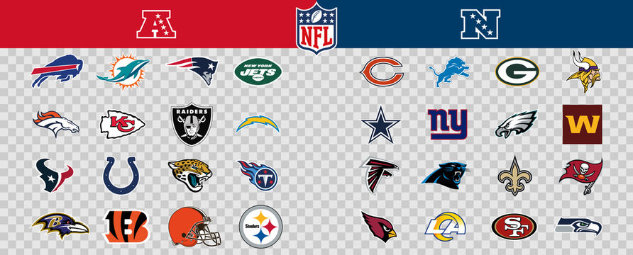 Vector Logos of All 32 of the Teams in the NFL. Sorted by League and Conference. Transparent, Editable. Includes League Logos.