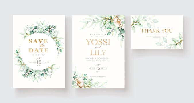 minimalist eucalyptus wedding card set
