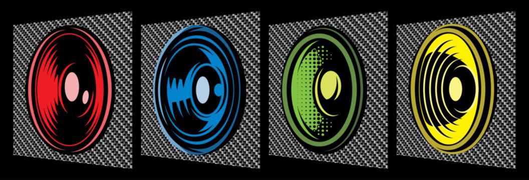 Set of different speakers. Vector color illustration. Elements for design. Carbon fiber background