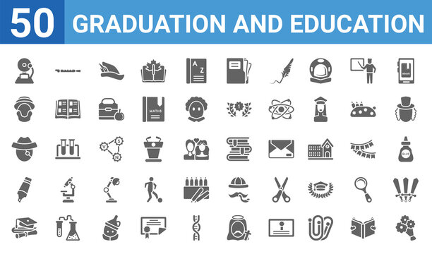 set of 50 graduation and education web icons. filled glyph icons such as bouquet,school bell,graduate,highlighter,long john silver,robinson crusoe,flute,books. vector illustration