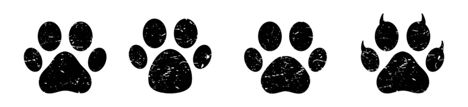 Different animal paw print icon,  cat or dog paw print, vector illustrations