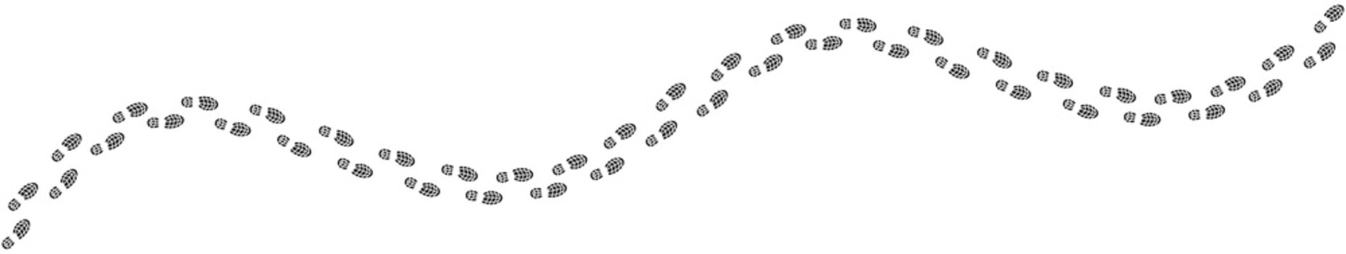 footprints shoe sole tracking path on white background, Shoes trail track vector illustrations
