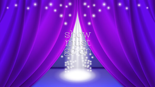 Show must go on. Purple ajar curtain on the stage. Bright white beams and multiple sparks. Clipping mask. EPS10