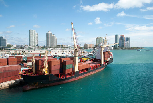 Miami Port Cargo Ship