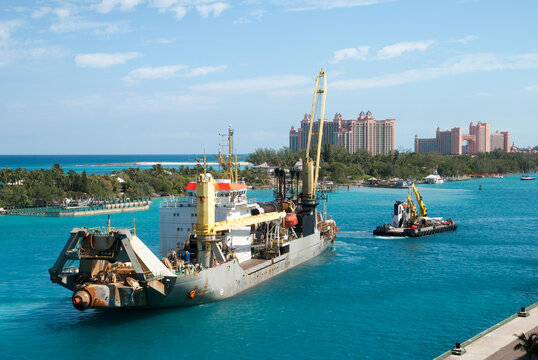 Industrial Ship Inside Nassau Harbour