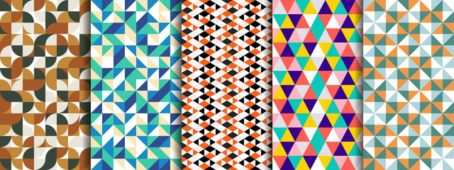 Set of geometric seamless pattern with circle, square, rounded, triangle and hexagon. Five style colorful vector background.