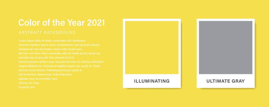 Color 2021. Color of the Year 2021. Ultimate Gray. Illuminating. Stock vector mockup template.