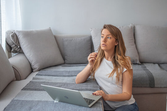 Woman self test for COVID-19 home test kit. Coronavirus nasal swab test for infection. Telemedicine and Telehealth distribution of health-related services online. Internet doctor in video call