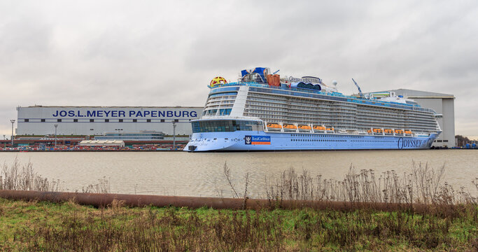Odyssey of the Seas at final assembly at the Meyer Shipyard in Papenburg