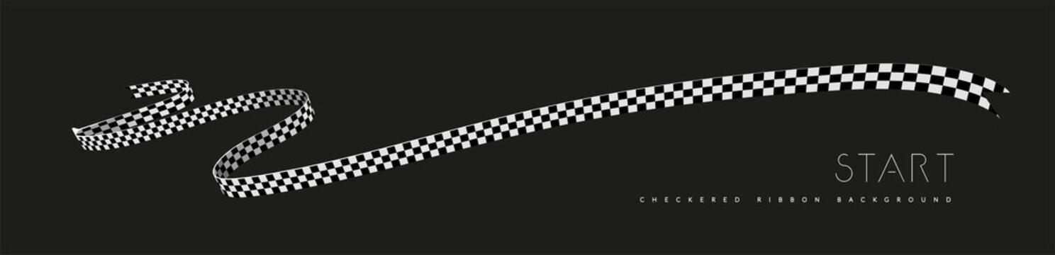 Checkered racing flag, ribbon. Vector illustration on dark