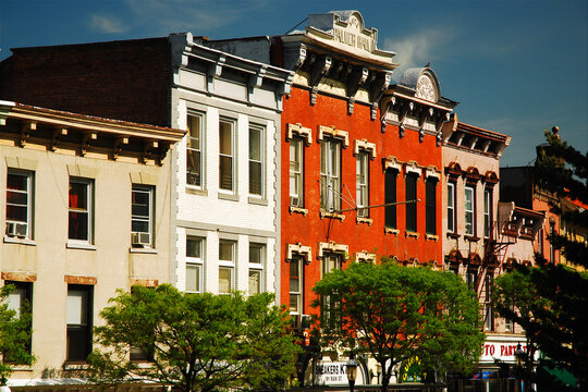 rows of Victorian building sit t side by side in downtown Ossining, New York