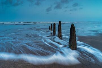 Beautiful Beach Groynes On Westward Ho Beach In North Devon