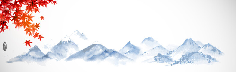 Landscape with forest trees and distant mountains. Traditional oriental ink painting sumi-e, u-sin, go-hua.