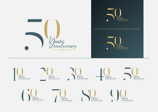 Set of anniversary logotype with minimalism gold, silver and blue color style for celebration event. Vector Template Design Illustration.