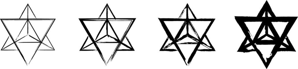 Fototapeta Set of the Merkaba symbols. Mer means light, Ka - spirit and Ba - Body.  Sacred geometry. Black ink handwriting. Vector obraz