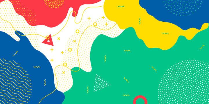 Color splash pattern background, Memphis geometric modern trendy vector design