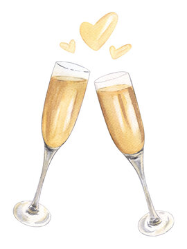 Two glasses of champagne watercolor illustration