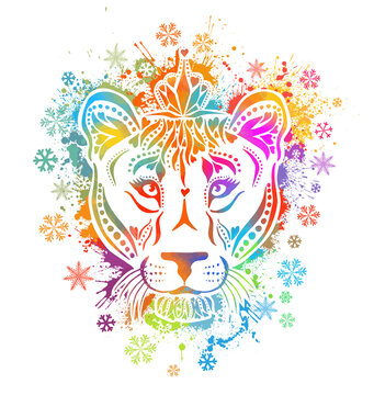 A multicolored lioness. The face of the lion is a rainbow abstract. Vector illustration
