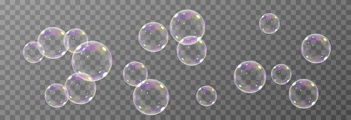 Obraz Vector soap bubble. Realistic soap bubble png, glare. Foam bubbles png. Powder, soap, detergent. Vector image. - fototapety do salonu
