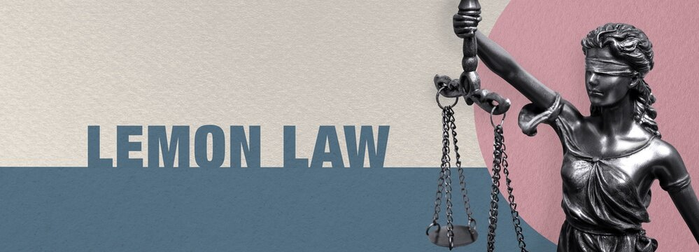 Lemon Law. Close-up of a Lady Justice statue. Law and lawyer symbol. Figure stands in front of paper with text.