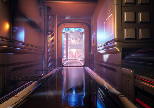 A sci-fi interior background from a space station. Cinematic angle and atmospheric environment.