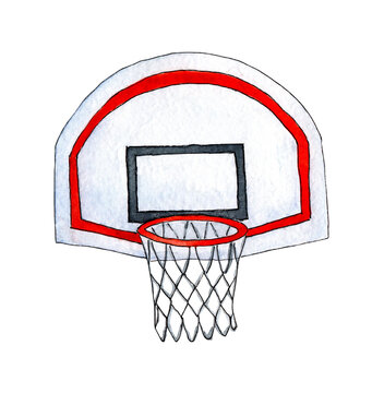 Watercolor sketch basketball basket with back. Basketball and goal illustration combine pencil drawing and watercolor sketch. Isolated on white background. Drawn by hand.