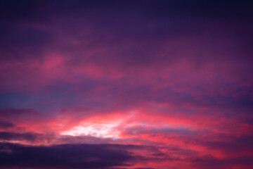 Beautiful cloudscape with bright sunset colors