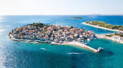 Fototapeta Aerial beautiful shot of Primosten, Town in Croatia