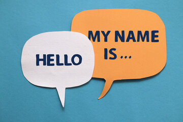 Hello my name is, text words typography written on paper against blue background, life and business motivational inspirational