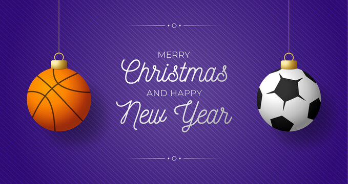 Luxury Merry Christmas horizontal banner. Christmas card with sport basketbal and football balls hang on a thread on purple modern background. Vector illustration. Place for your text