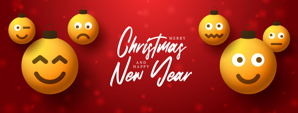 Merry christmas yellow balls with cute face greeting card. Emoticons on bubble toys. Vector for decoration holiday xmas tree. Element of design Happy New Year sale banner, flyer, poster, background.