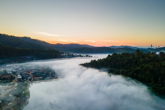 Nature Lighting in the morning after wake up, Town in fog at North of THAILAND.(Selective Focus)