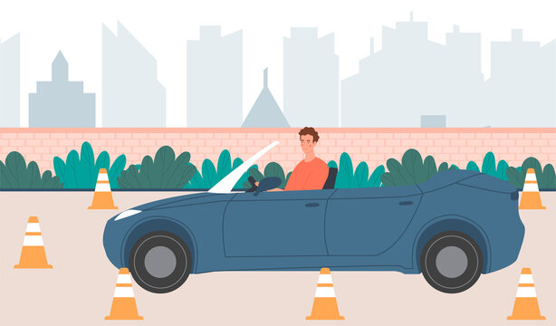 Male character in convertable car practicing a reverse park at driving school. Concept of parking lot exercise. Flat cartoon vector illustration