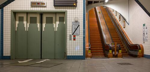 Lift And Wooden Escalators In The Sint-anna Pedestrian Tunnel In Antwerp.