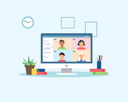 People meeting or learning online with video conference. Group of people connecting together virtually via internet. Video call. Work from home concept. Colorful vector illustration in flat style.