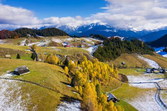 Brasov, Romania. Autumn in Fundata Village. Rural landscape in the Carpathians, Romania.