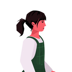 Wall Mural - beautiful brunette girl cute child female cartoon character portrait vector illustration