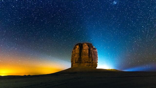 Devil thumb or Judah thumb near Riyadh Desert. Night photograhy.Saudi Arabia.