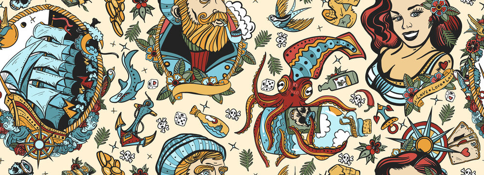 Sea adventure vintage seamless pattern. Old school tattoo style. Marine background. Nautical art. Funny underwater monster. Sea wolf captain, octopus kraken, pirate ship and sailor girl