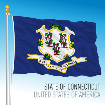 Connecticut federal state flag, United States, vector illustration