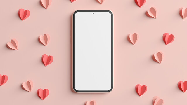 3D rendering mobile phone mockup with hearts for Valentines day background design. Empty generic smartphone blank screen template. 3D illustration